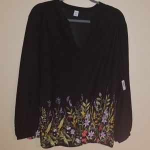 Old Navy black and floral  blouse